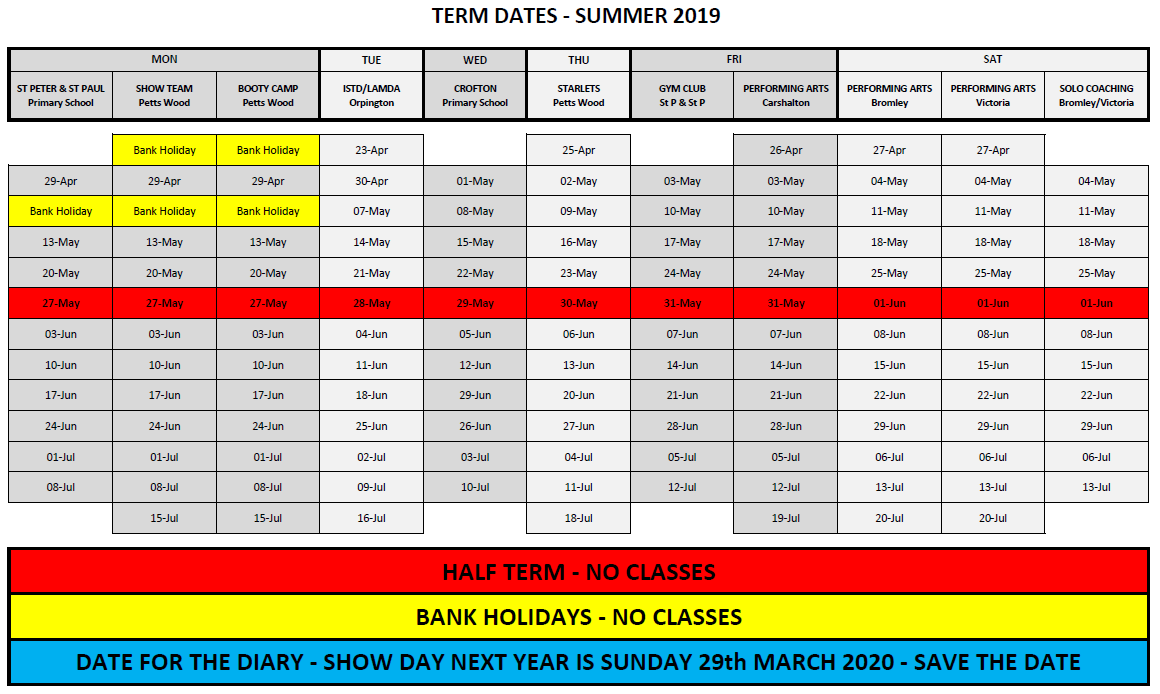 Term Dates - Summer Term 2019